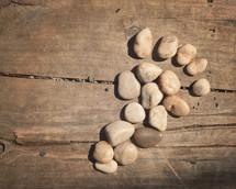 stones in the shape of a footprint