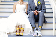Bride and groom feet dress yellow and gray socks shoes wedding