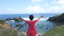 Lady standing on a cliff in awe of God's creation