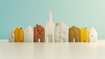 small wooden houses and church