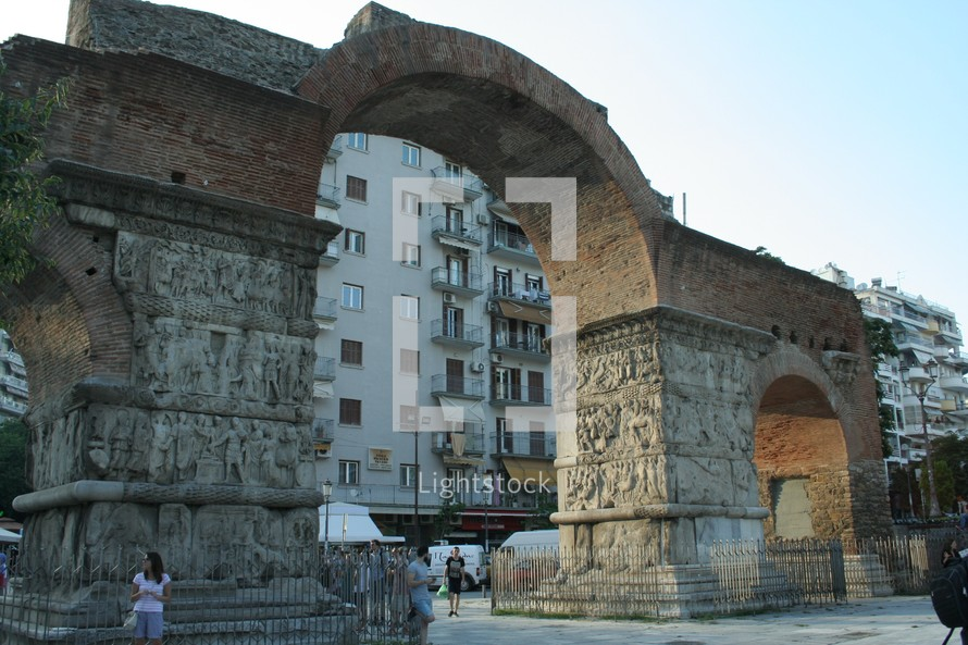 Detail from the historic Arch of Galerius in Thessaloniki, Greece. This monument was built in the 4th century, by Roman Emperor Galerius.