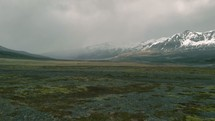 plains and snow capped mountains