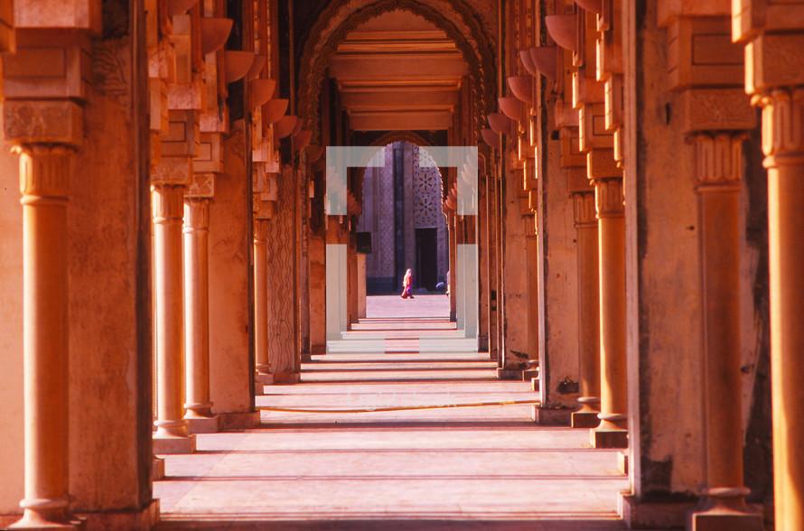 columns and hallway