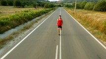 man running on a road