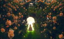 child entering a rose garden