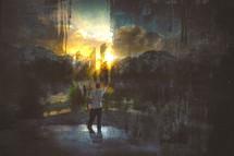 a man painting a landscape canvas