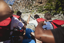 friends whitewater rafting