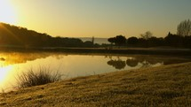 a pond at sunrise