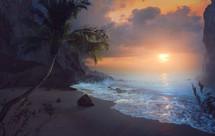 Beautiful sunrise over peaceful beach.