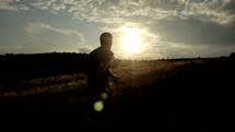 a man jogging outdoors