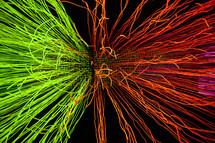 bokeh lights neon strings backlight green red