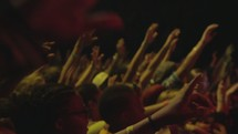 raised hands of an audience at a concert