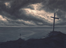 A man runs from the storm and towards the cross