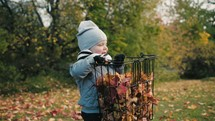 a toddler carrying a basket of fall leaves
