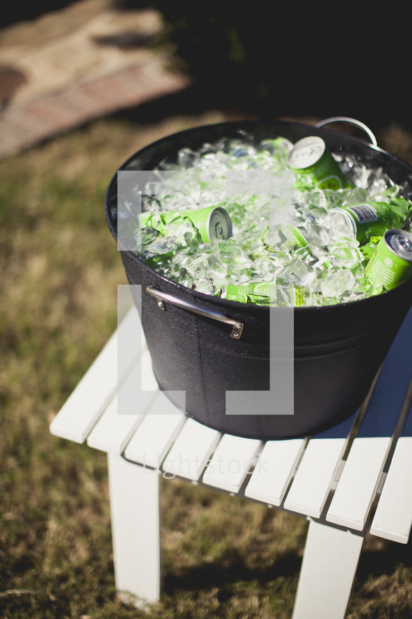 Barrel of iced down drinks