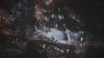 splashing water from a waterfall