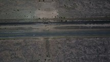 aerial view over a desert highway