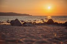 rocks on a sandy beach