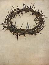 crown of thorns on parchment paper