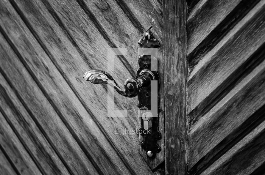 door pull on a wood door
