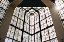 wall of glass windows