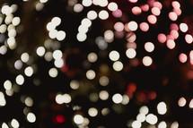 bokeh red and white Christmas lights