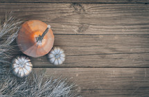 silver and orange pumpkins on an aged wood background