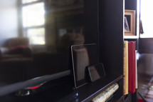 reflection of a living room in a mirror