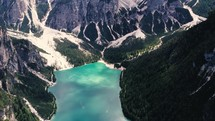 aerial view over a mountain lake