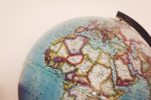 Africa on a globe