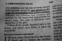 Open Bible in book of 1 Chronicles