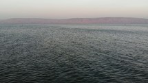 low flyover of the sea of Galilee