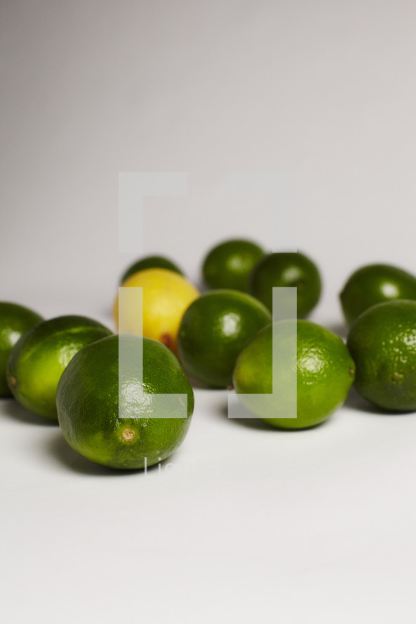 One lemon among a group of limes