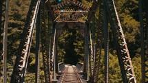 crossing an old train bridge
