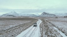 vehicle on an icy road in Iceland