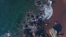 Sea water on rocks on a shore | Coastline | Beach | Summer | San Francisco | Aerial | Ascending | People | Waves | Nature | Landscape | Outside | California | West Coast