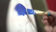 painting blue on paper