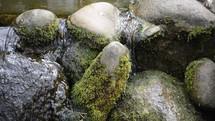 water trickling over rocks