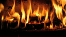 Flames in a log fireplace