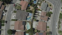 aerial view over homes in the suburbs