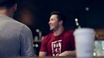 friends talking in a restaurant