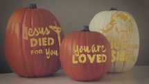 "Pumpkin video loop perfect for Halloween trick or treat or ""trunk or treat"" evangelism."