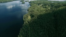Flying over lake and forest