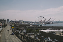 Ferris Wheel along a shore and road in Seattle