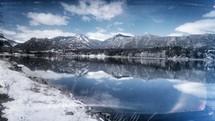 mountain lake and snow