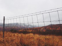 Fall foliage on the mountains seen through a barbed wire fence.