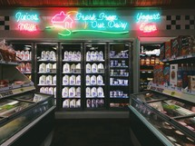 Refrigerated section of a convenience store.