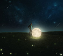 man, the moon, and stars