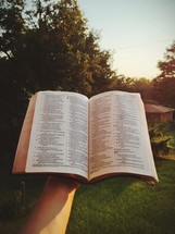 open Bible outdoors
