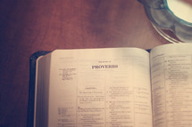 Bible opened to the book of Proverbs.